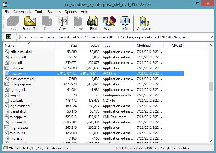 Windows 8 ISO, install.wim location