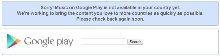 Canada Google Music Error